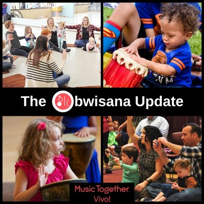 "Collage of pictures showing children of different ages making music together with the name of the blog ""Obwisana Update."""